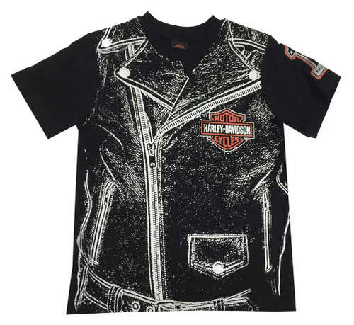 Harley-Davidson® Big Boys' Jersey Zipper Graphic T-Shirt Tee, Black 1092531