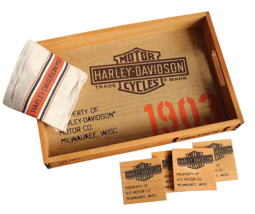 Harley-Davidson® 1903 Serving Tray Gift Set - Tray, Coasters & Towel HDL-18530