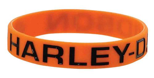 Harley-Davidson® Debossed Ink Fill H-D Script Silicone Wristband, Orange WB02264
