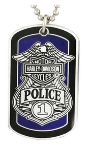 Harley-Davidson® Police To Protect And Serve Dog Tag Necklace/Key Chain 8002671