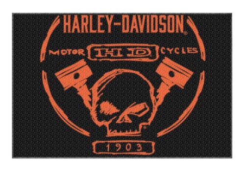 Harley-Davidson® Build Willie G Skull Piston Tufted Rug, 39x59 In, Black NW080218 - Wisconsin Harley-Davidson