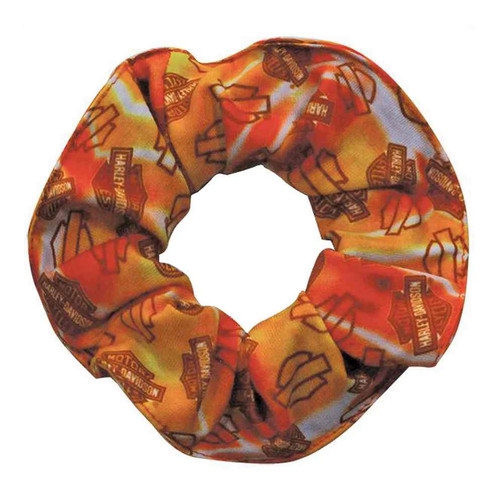 Harley-Davidson® Flaming Repeated Bar & Shield Hair Scrunchie, Orange HS61466