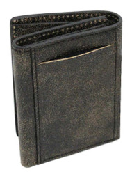 Harley-Davidson® Men's Burnished Tri-Fold Skull Wallet Leather BM2647L-TanBlk