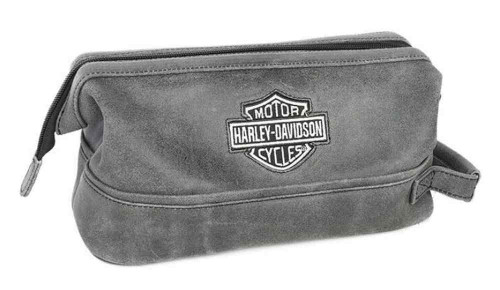 Harley-Davidson® Bar & Shield Distressed Leather Toiletry Kit, Gray 99609-GRY - Wisconsin Harley-Davidson