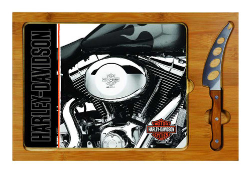 Harley-Davidson® Cutting Board, Icon Engine Print Glass/Wood Board 910-00-014