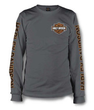Harley-Davidson® Men's Long Sleeve Orange Bar & Shield Grey Shirt 30291963