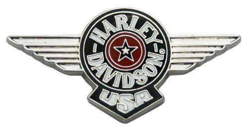 Harley-Davidson® Fat Boy H-D Script Logo Pin, Silver Logo, 1.75 x .75 inch V51983
