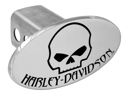 Harley-Davidson® Chrome Engraved Oval Willie G Skull Hitch Cover, 2 inch HDHC180 - A
