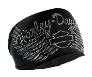 Harley-Davidson® Women's Headband Scrunchie, Studded Bar & Shield Wings HE07430