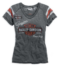 Harley-Davidson® Womens V-neck Genuine Oil Can Burnout Tee Grey Black 99196-14VW - Wisconsin Harley-Davidson