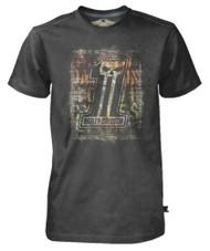 Harley-Davidson® Men's Black Label T-Shirt, Distressed Brick Wall #1 Skull, Black
