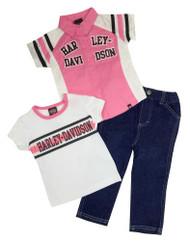 Harley-Davidson® Little Girls' Glittery Denim Pant Set, 3 Piece Set, Pink 2020407 - C