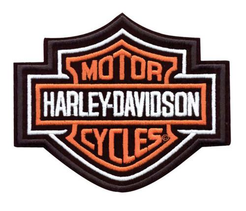 Harley-Davidson® Bar & Shield Patch Medium Orange 5-5/8'' W x 4-5/8'' H EMB302383