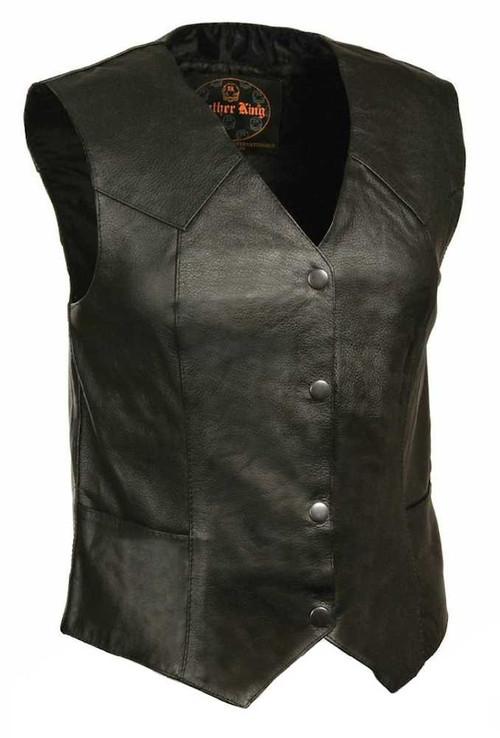 Leather King Women's Classic Four Snap Vest SH1227 - A