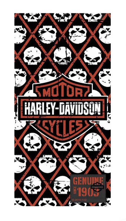 Harley-Davidson® Beach Towel, Bar & Shield/Repeated Willie G Skull, 30x60in 12370