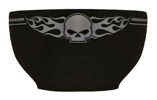 Harley-Davidson® Flaming Willie G Skull Logo Ceramic Bowl, Black HD-HD-905
