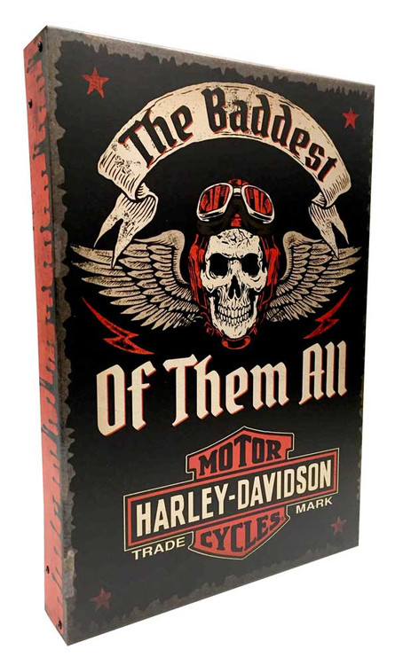 Harley-Davidson® Baddest Of All Time Polish Aluminum Box Sign AC2BX-BADD-AD-HARL - C