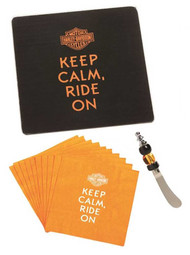 Harley-Davidson® It's A Party Gift Set Napkins, Keep Calm Bar & Shield, P11044900