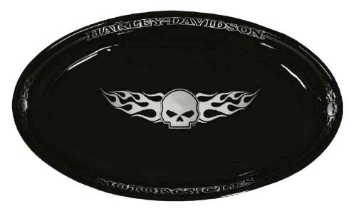 Harley-Davidson® Flaming Willie G Skull Serving Ceramic Platter, Black HD-HD-904