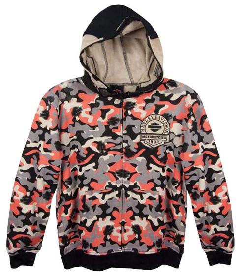 Harley-Davidson® Big Boys' Skull Face Mask, Allover Print Zip Hoodie, 6591682 - C