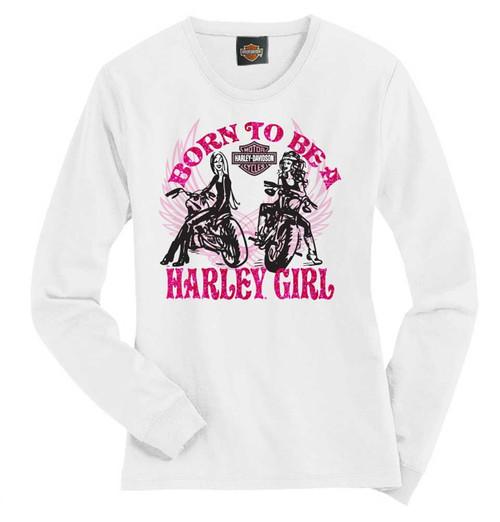 Harley-Davidson® Big Girls' Tee, Long Sleeve Harley Girl Shirt, White 1540583