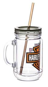 Harley-Davidson® Bar & Shield Logo Mason Jar Mug, 20oz Clear w/ Black Lid 2AJ4900 - Wisconsin Harley-Davidson