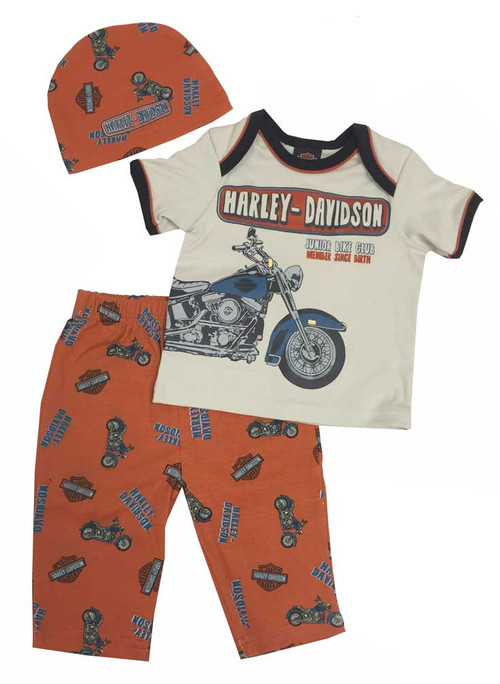 Harley-Davidson® Baby Boys' Retro Motorcycle 3 Piece Set w/ Gift Bag 2551557 - A