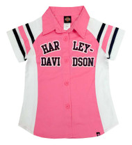 Harley-Davidson® Little Girls' Glittery Short Sleeve Shop Shirt, Pink 1030571 - Wisconsin Harley-Davidson