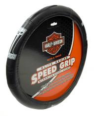 Harley-Davidson® Elite Steering Wheel Cover, Dark Custom #1 Skull, Black 6636