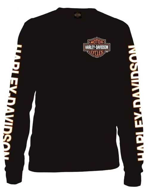 Harley-Davidson® Men's Long Sleeve Orange Bar & Shield Black Shirt 30291744 - A