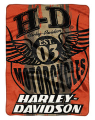Harley-Davidson® Motor Patch Est. 1903 Raschel Throw Blanket, Orange NW047136