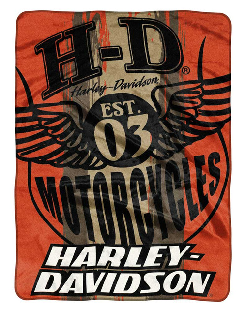 HarleyDavidson Motor Patch Est 40 Raschel Throw Blanket Orange Awesome Harley Davidson Blankets And Throws