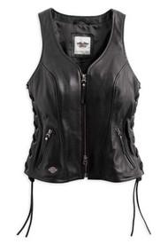 Harley-Davidson® Women's Avenue Leather Vest Side Lacing, Black 98071-14VW - Wisconsin Harley-Davidson