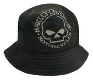Harley-Davidson® Men's Bucket Hat, Foldable Washed Twill Cap, Black HD-439 - Wisconsin Harley-Davidson
