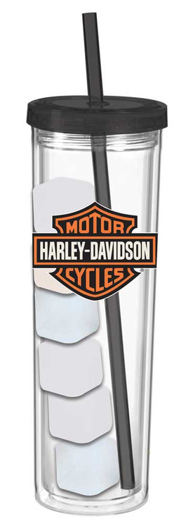 Harley-Davidson® Bar & Shield Skinny Cup w/ Reusable Ice Cubes, 16 oz. 2ASC4900