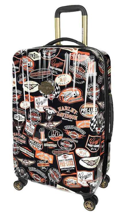 Harley-Davidson® 25 Inch Vintage Pullman Spinner Wheels Luggage, Black 99925-VIN