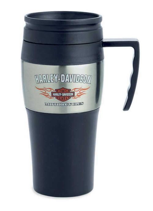 Harley-Davidson® Flames Bar & Shield Insulated Travel Mug 14 oz, Coffee 99201-14V