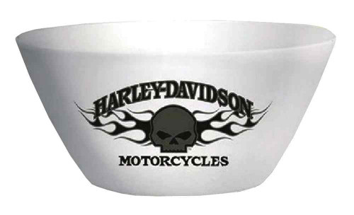 Harley-Davidson® Flaming Willie G Skull Melamine Serving Bowl, White HD-HD-913