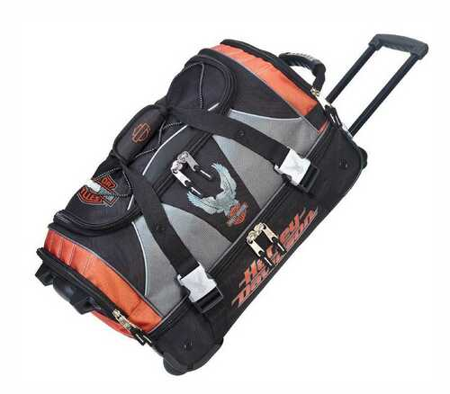 Harley-Davidson® 21 inch Carry-On Duffel, Lightweight Wheeled Bag 99622-RUST/BLK - D