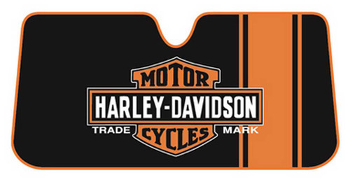 Harley-Davidson® Bar & Shield Accordion Style Car Sun Shade, Black/Orange 3731