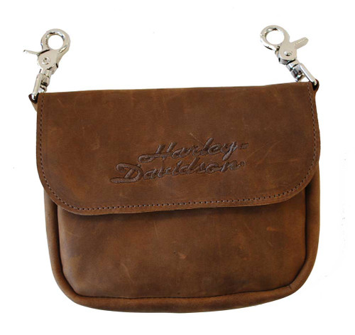 Harley-Davidson® Embroidered H-D Clip Hip Bag Brown Suede Leather CH55