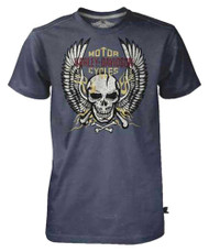 Harley-Davidson® Men's Black Label Tee, Bright Winged Flaming Skull, Charcoal