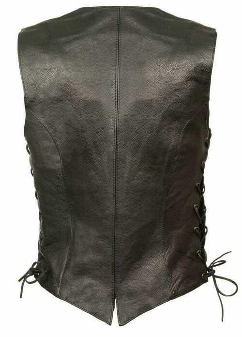 Milwaukee Leather Women's Classic Side Lace Vest w/ Buffalo Snaps ML1254 - A