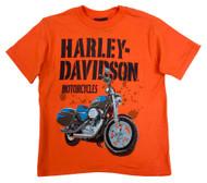 Harley-Davidson® Little Boys' Tee, Short Sleeve Blue Thunder, Orange 0484236