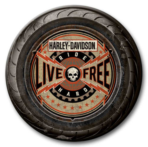 Harley-Davidson® 23 in Round 2 Piece Tire Live Free Wooden Sign CU118A-AD-LF-HARL