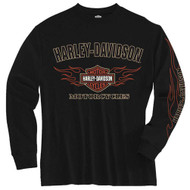 Harley-Davidson® Big Boys' Tee, Long Sleeve Flaming Bar & Shield, Black 1590605 - Wisconsin Harley-Davidson