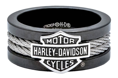 harley davidson mens ring bar shield steel cable band black hsr0021 - Harley Wedding Rings