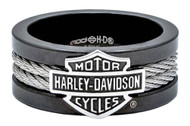 Harley-Davidson® Men's Ring, Bar & Shield Steel Cable Band, Black HSR0021