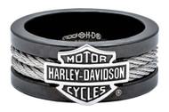 Harley-Davidson® Men's Ring, Bar & Shield Steel Cable Band, Black HSR0021