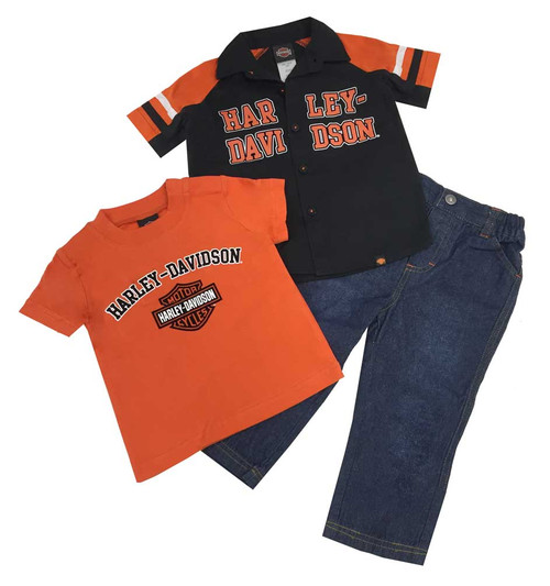 Harley-Davidson® Baby Boys' Velvet H-D Denim Pant Set, 3 Piece Set Black 2060488 - C